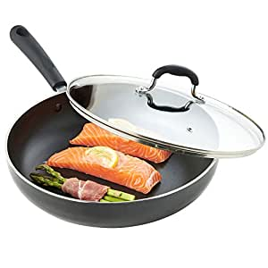 VonShef Premium 28cm/ 4.3L Aluminium Non-Stick Sauté Pan with Glass Lid - Suitable For All Hobs including Induction