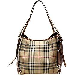 BURBERRY sac à main femme tote horseferry check marron