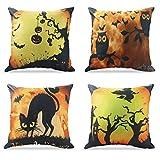 Kissenbezug Happy Halloween Dekorationen Eule/Bat / Hexe/Black Cat Thema Sofa Home Dekorative 45 X 45 CM Fall Kissenbezüge Set von 4