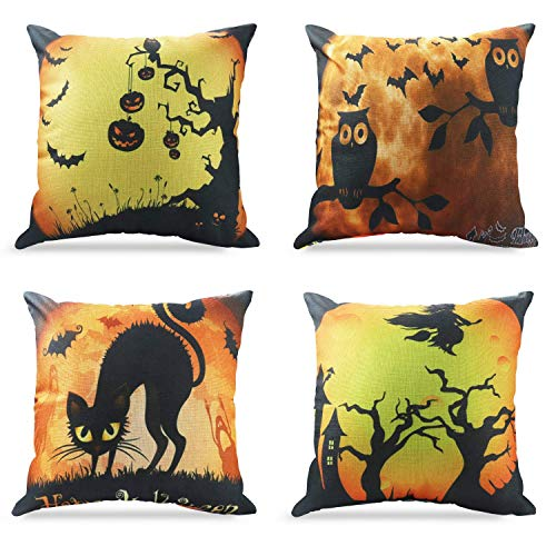 Kissenbezug Happy Halloween Dekorationen Eule/Bat / Hexe/Black Cat Thema Sofa Home Dekorative 45 X 45 CM Fall Kissenbezüge Set von 4