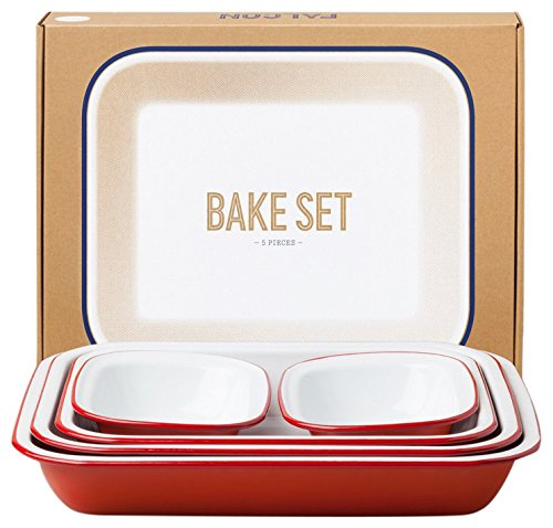 Falcon Enamelware Bake Set Pillarbox Red, Great Home and Cookware Accessory Range