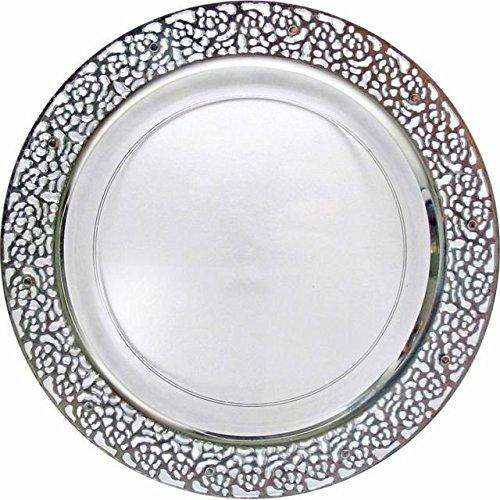 DECORLINE -Inspiration- Transparent mit Silber-Lace-Rim -Stabile Kunststoff Einweggeschirr (TELLER 23 CM)