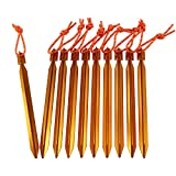 YUEDGE Qualität Leichte Aluminium Heringe, Zeltheringe Zeltnagel Alu Heringe Bodenanker Erdnagel Bodenheringe (10 Stück/Orange)