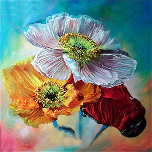Flor pintada a mano diamante pintura interior decoración de bordado de pared 9744, multicolor,