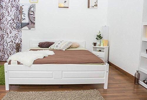 Bett 180 x 200 cm Kiefer Weiß mit Lattenrost