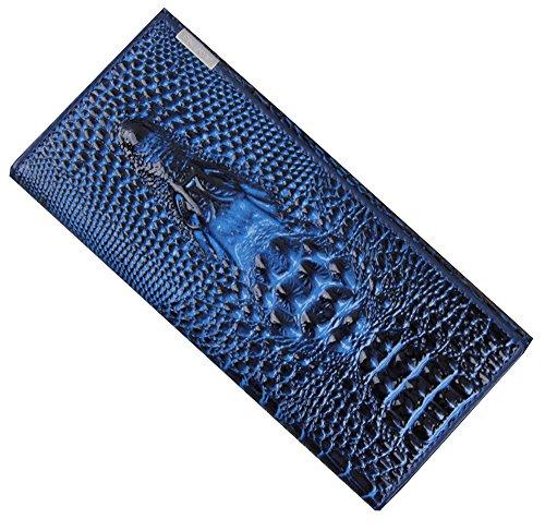 1 X Bolso De Las Señoras – Crocodile Cuero Billfold / Titular De Tarjetas / Clip De Dinero / Larga Cartera Con Hebilla – Púrpura