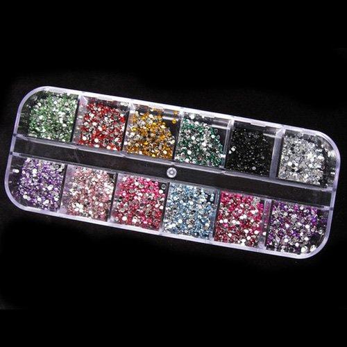 1200pcs 2mm Rhinstones 12 Couleurs Boîte Dur Nail Art Ongle Gel UV Acrylique