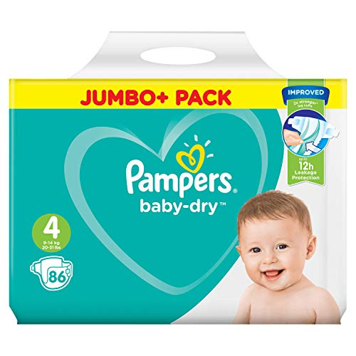 Pampers Baby-Dry Size 4, 86 Nappies, 9-14 kg, Jumbo+ Pack, Air Channels for Breathable Dryness Overnight