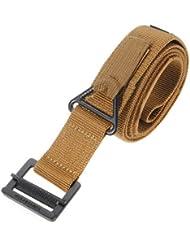 Cinturon tactico - TOOGOO(R) Cinturon tactico ajustable de militar de supervivencia de emergencia para hombre cafe