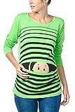 Witzige süße Umstandsmode T-Shirt mit Motiv Schwangerschaft Geschenk - Langarm (M, Grün)