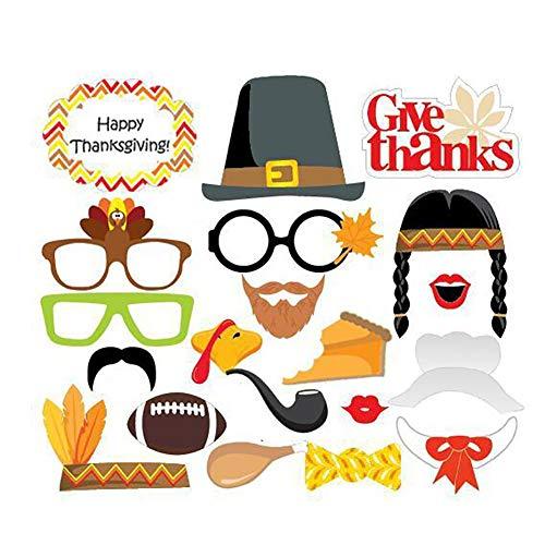 20 PC Lustige Mask of Thanksgiving Day Foto Requisiten DIY Kit Maske Props Partybedarf Dekor Fotozubehör
