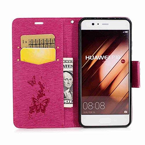 Guran® PU Ledertasche Case für Apple iPhone 7 Smartphone Flip Cover Stent-Funktion und Karte Slot Hülle Retro Schmetterling Etui - Rosenrot Rosenrot