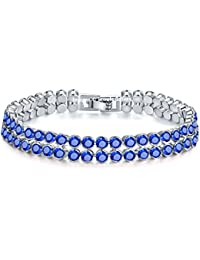 Shimmer Divine Crystal Elements Sparkling Double Strand Rhodium Plated Round Bracelet For Women & Girls