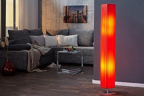 DuNord Design Stehlampe Stehleuchte Lichtsäule MILANO rot 120cm Art Deco Plissee Retro Lampe