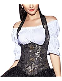 R-dessous corset dos nu seins nus style dirndl allemand :  guêpière abendmode corset noir/doré