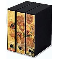 KAOS Archival 2ring Binders with slipcase Spine 8 cm 3 pcs Set SUNFLOWERS VAN GOGH -