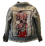 """CYSTYLE Frühjahr Herbst Kinder Mädchen Stickerei Langarm Denim Jeansjacke Jacket Übergangsjacke mit """"Mädchen"""" Drucken (110/Körpergröße 95-103cm)"""