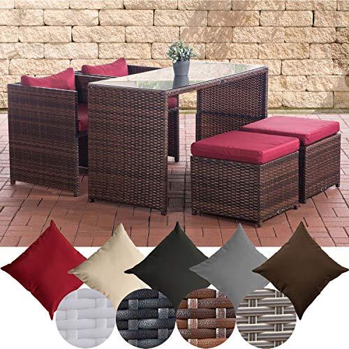 CLP Polyrattan-Gartengarnitur Tahiti I Sitzgruppe mit 4 Sitzplätzen I Komplett-Set mit 2 Stühlen, 2 Hockern und 1 Tisch I In verschiedenen Farbe Braun Meliert, rubinrot