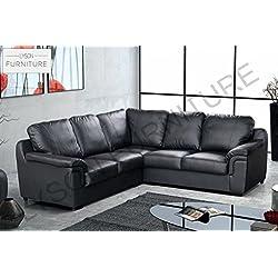 Amy sofá en esquina de piel sintética negro o marrón, Chenilla, negro, 2CR2
