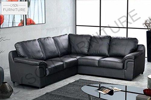 Lyson Furniture Amy Canapé d'angle Simili Cuir Noir Marron, Chenille, Noir, 2CR2