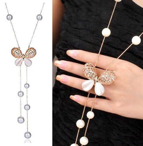 Navya Collection Simulated Opal Crystal Latest Design Butterfly Pearl Long fashion Necklace Gold Plated for Women