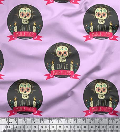 Soimoi Lila japanischer Kreppsatin Stoff Text & Schädel Halloween Drucken Nahen Stoff 1 Meter 42 Zoll breit