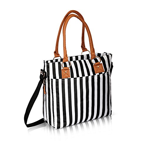 baby-changing-bag-diaper-bags-w-changing-mat-designer-bags-for-girls-boys-twins-black-stripes-by-nim