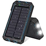 FEELLE Solar Charger 13000mAh Waterproof Solar Power Bank Portable Battery Pack Charger with Dual LED Super Bright Flashlights for iPhone, iPad, Smartphones and More Outdoor activities