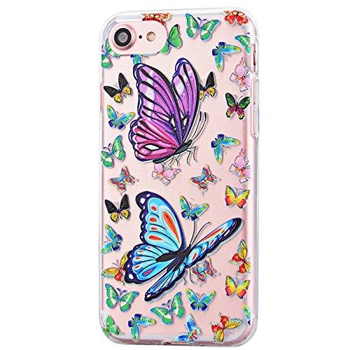 Für iPhone 7 Cover, Yokata Transparent Motiv TPU Vintage Soft Case mit Weich Silikon Bumper Crystal Clear Schutzhülle Durchsichtig Extrem Dünne Case Hülle - Plum Blume Schmetterling