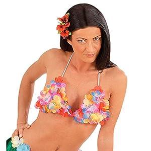 Hawaii Kostüm BH Aloha Blüten Büstenhalter Hawaiianisches Hula Blumen Top Karibik Tänzerin Tropical Bra Südsee Mottoparty Oberteil Strand Party Sommer Mottoparty Accessoire Karneval Kostüm Zubehör