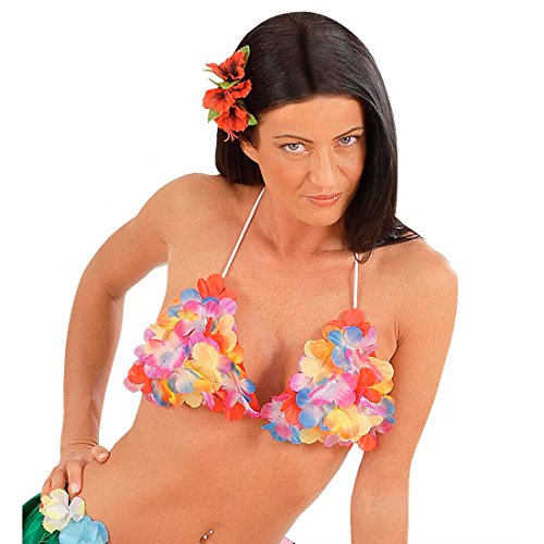 Karneval Kostüm Karibik - Hawaii Kostüm BH Aloha Blüten Büstenhalter Hawaiianisches Hula Blumen Top Karibik Tänzerin Tropical Bra Südsee Mottoparty Oberteil Strand Party Sommer Mottoparty Accessoire Karneval Kostüm Zubehör