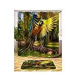 AieniD Badezimmer Deko Vintage Vogel Muster Mehrfarbig Bad Vorhang Size:165X180CM