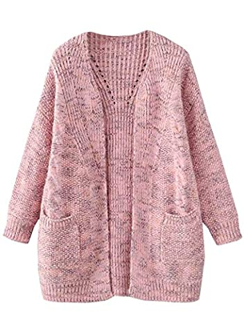 Futurino Women's Autumn/Winter Cable Boyfriend Open Front Patch Pocket Warm Knit Cardigan Sweater Outwear Coat (One Size, Multi