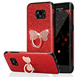 HUDDU Compatible for Rot Shinny Glitzer Sparkles TPU Handyhülle Samsung Galaxy S6 Bling Hülle 360 Rotation Ring Halter Stand Bowknot Halterung Ringhalter Soft Silikon Schutzhülle Rückseite Mädchen