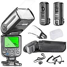 Neewer® NW-565C Kit de Flash Esclavo E-TTL Professional para Canon Rebel T5i T4i T3i T3 XS T2i T1i Xsi Xti, EOS 650D 600D 1100D 1000D 550D 500D 450D 400D 350D 300D 5D Mark III 5D Mark II 6D 5D 7D 60D, 50D y todas otras cámaras DSLR de Canon- Incluye: Neewer Flashes de Enfoque Automático + 2.4GHz 3-en-1 Disparador Inalámbrico + 2 Cables (C1-Cord & C3-Cord) + Difusores de Flash Duro y Suave + Soporte para Tapa de Lente