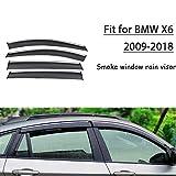 SLONGK Per BMW X6 2009-2018, 4 Pezzi ABS Finestra di Fumo per Auto Parasole per Pioggia Deflettore Accessori per la Protezione