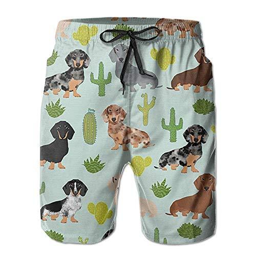 Dachshund Cactus Surf de Verano para Hombre Trajes de baño Pantalones Cortos...
