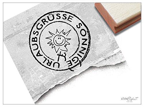 Stempel - Textstempel Poststempel rund mit SONNE - Sonnige Urlaubsgrüße. für Grußkarten aus dem Urlaub - von zAcheR-fineT