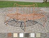 CLP Baumbank JETTE aus lackiertem Eisen | Elegante Rundbank im nostalgischen Design | In verschiedenen Farben erhältlich Antik Braun