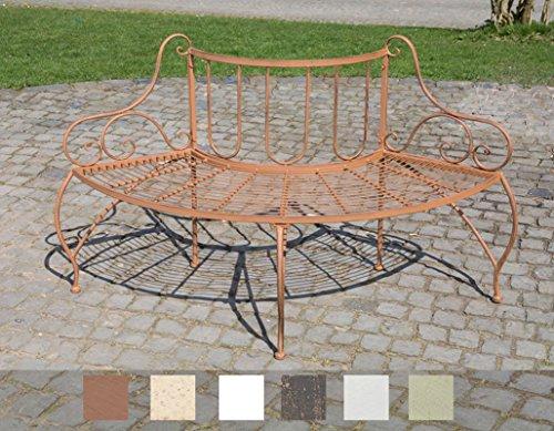 CLP Baumbank JETTE aus lackiertem Eisen I Elegante Rundbank im nostalgischen Design I In verschiedenen Farben erhältlich Antik Braun