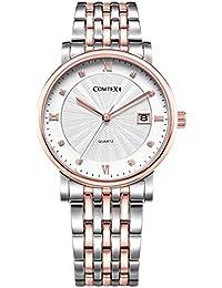 COMTEX Reloj de cuarzo con correa de acero inoxidable para hombre,color oro rosa/