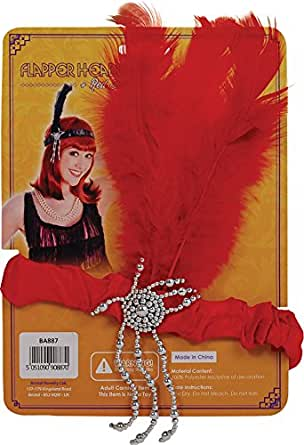 RED FLAPPER HEADPIECE - SATIN HEADBAND WITH SILVER BEADED DETAIL AND RED FEATHERS