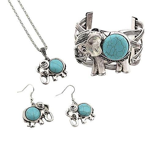 Contever® Attractive Bijoux Set Vintage Collier Turquoise Boucles D'oreilles Pour Les Femmes - Elephant