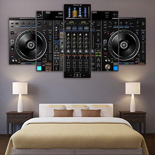 Angle&H Segeltuch HD-Drucke Bilder Zuhause Dekor Gemälde 5 Stücke DJ Music Player-Konsole Modular Poster Wohnzimmer Wandkunst,B,30x40x2+30x80x1+30x60x2 -