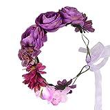 Cereoth Guirnalda de flores Diadema de guirnalda de corona floral rosa para boda (púrpura)