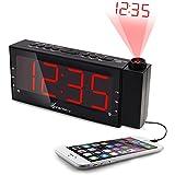 Vansky® Reloj de Alarma de Proyección Regulable, Radio Digital de Alarma FM con Puerto de Carga USB / Alarma Dual / Función Snooze / Pantalla LED Roja Grande de 1,8 Pulgadas / Temporizador de Apagado