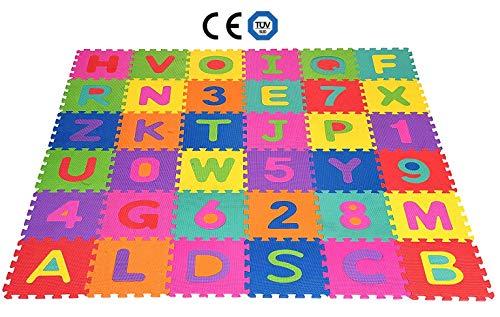 SPARGOX Tappeto Bambini Puzzle con Lettere e Numeri - 36 Pezzi | con Sacca Riutilizzabile |Certificato CE e Tüv | Tappeto da Gioco Lavabile 180X180cm Spessore 1cm |Tappeto Moderno Salotto