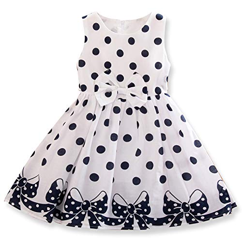 TTYAOVO Mädchen Ärmellose Vintage Kleider Sommer Rundhals Retro Polka Dot Party Kleid 8-9 Jahre Weiß Vintage Retro Polka Dot