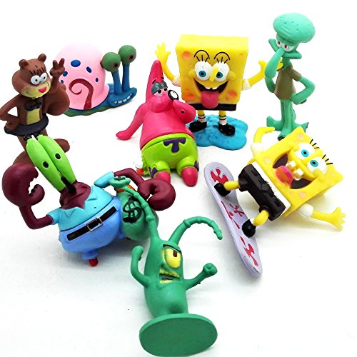 ONOGAL Bob Esponja Colección de 8 personajes figuras Spongebob Calamardo Patricio Señor Cangrejo Arenita Plancton y Gari 4680