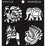 """thecraftshop CrafTreat Indian Motifs 2 Reusable Template Stencil for Art and Craft, Mixed Media, Home Decor, DIY Albums, Card Making and Fabric Painting (6""""X6"""")"""